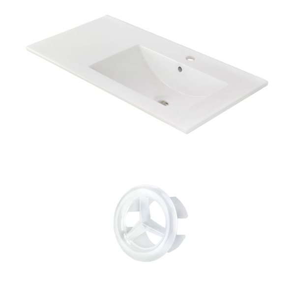 American Imaginations 35.5-in White Ceramic Single Hole  Vanity Top Set White Overflow Cap