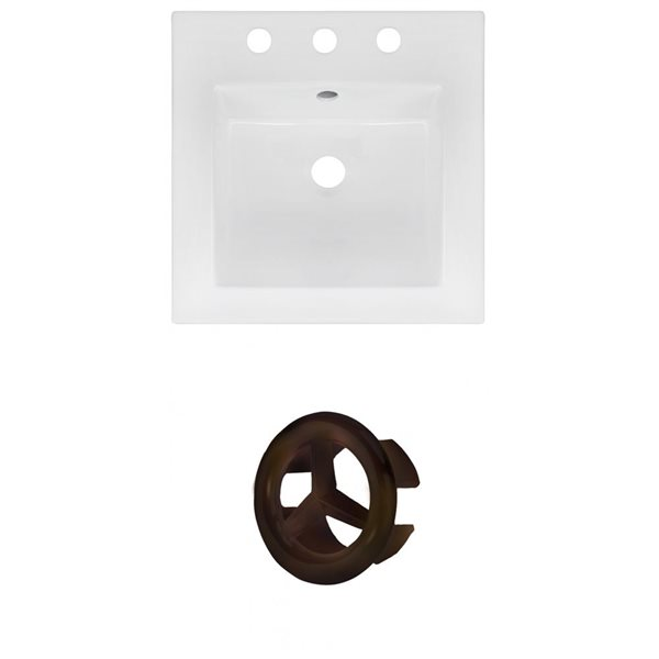 American Imaginations 16.5 x 16.5-in White Ceramic Centerset Vanity Top Set Oil Rubbed Bronze Overfow Cap