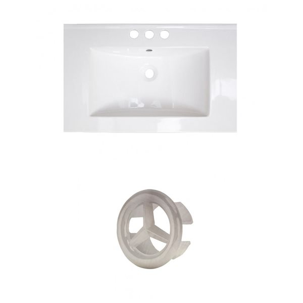 American Imaginations 21-in White Ceramic Centerset Vanity Top Set Brushed Nickel Overflow Cap