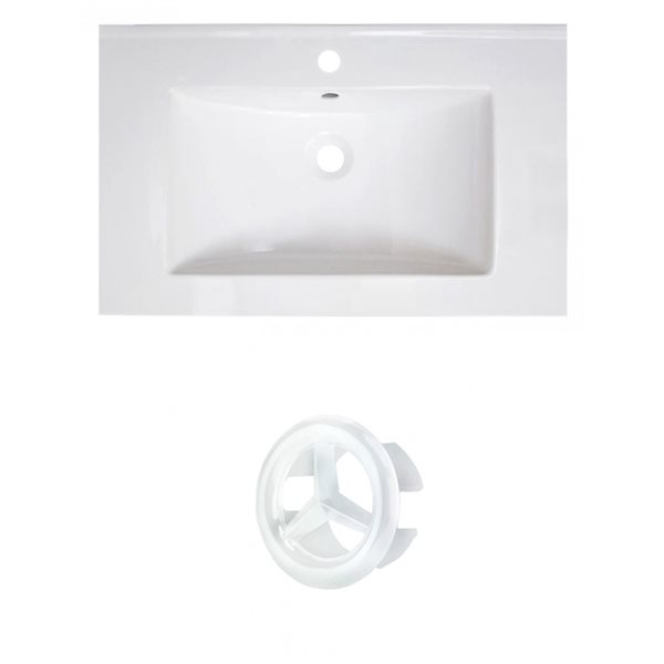 American Imaginations Vee 30-in White Ceramic Vanity Top Set with White Overflow Cap Single Hole