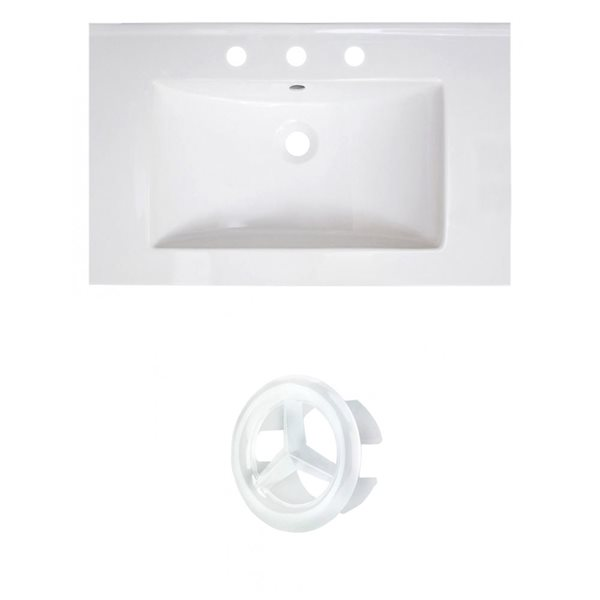 American Imaginations Vee 30-in White Ceramic Vanity Top Set with White Overflow Cap