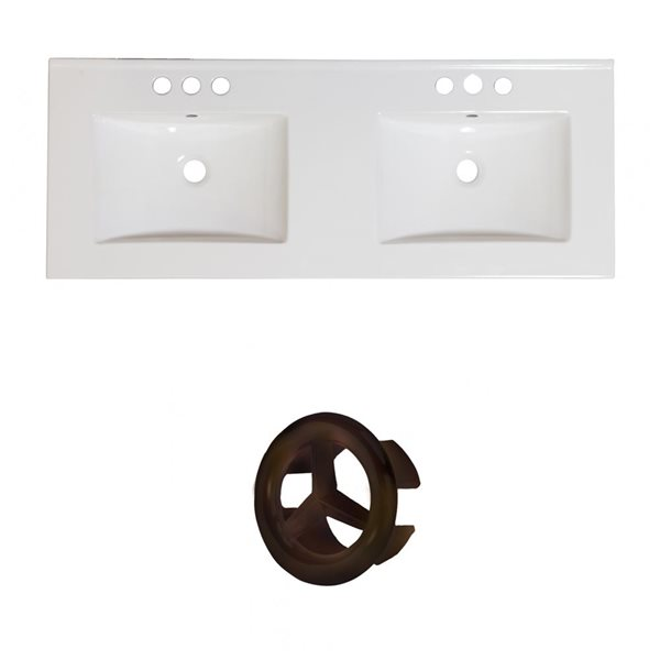 American Imaginations Xena 59-in White Ceramic Widespread Vanity Top Set Old Rubbed Bronze Overflow Cap