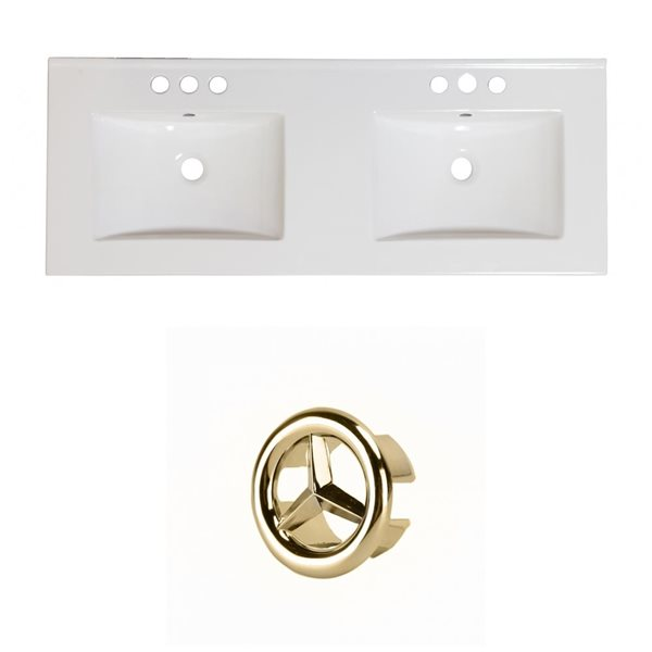 American Imaginations Xena 59-in Dual White Ceramic Vantiy Top Set with Gold Overflow Cap