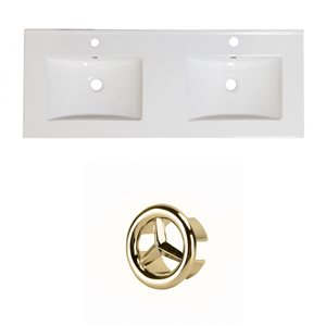 American Imaginations Xena 59-in Dual White Ceramic Vantiy Top Set with Gold Overflow Cap Single Hole