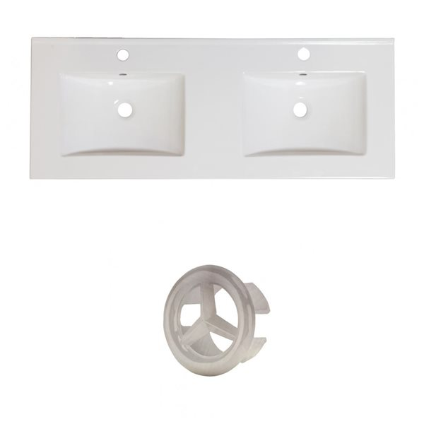 American Imaginations Xena 59-in Dual White Ceramic Vantiy Top Set with Brushed Nickel Overflow Cap Single Hole
