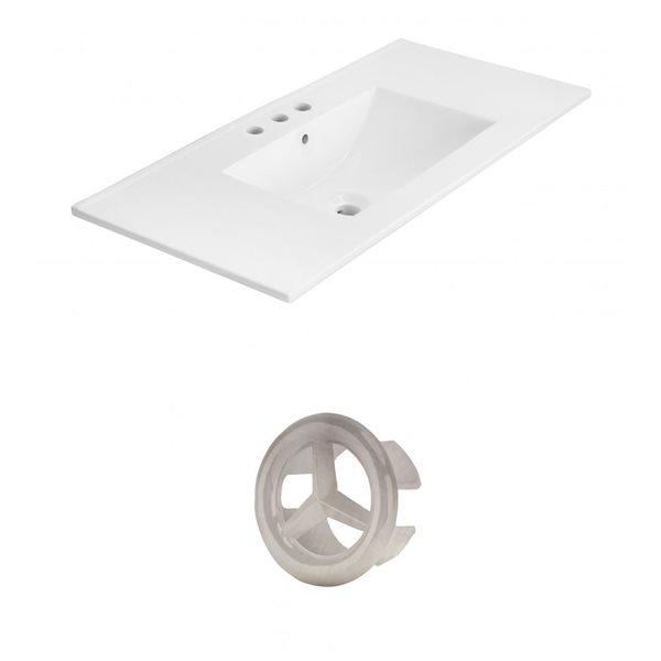 American Imaginations Xena 35.5-in White Ceramic Wide Spread  Vanity Top Set Brushed Nickel Overflow Cap