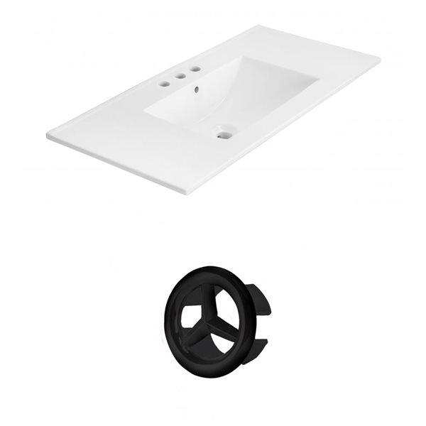American Imaginations Xena 35.5-in White Ceramic Wide Spread  Vanity Top Set Black Overflow Cap