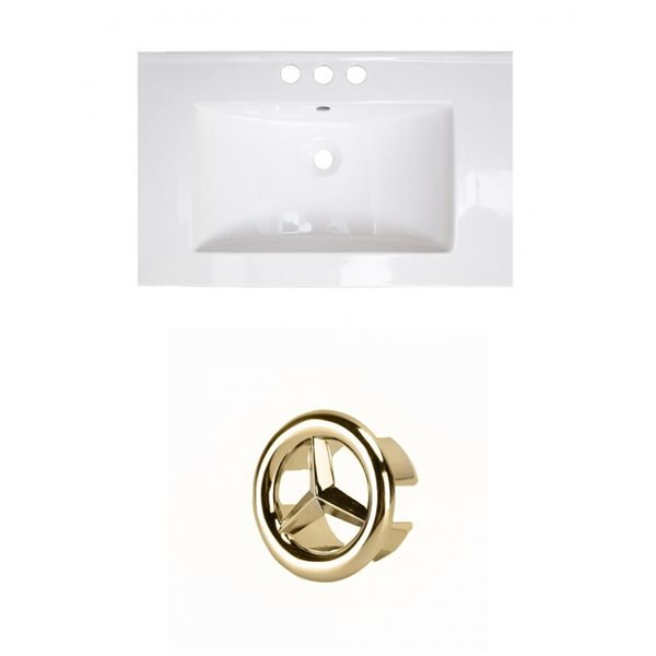 American Imaginations 23.75-in White Ceramic Centerset Vanity Top Set Gold Overflow Cap