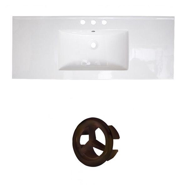 American Imaginations Roxy 48-in White Ceramic 4-in Widespread Vanity Top Set Oil Rubbed Bronze Overflow Cap