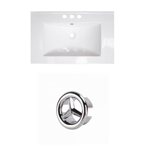 American Imaginations Roxy 24.25-in White Ceramic Vanity Top Set