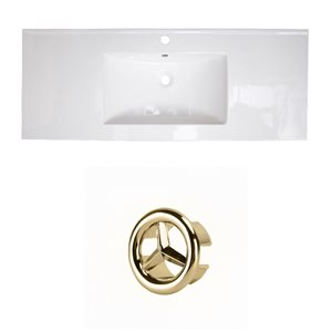 American Imaginations Roxy 48-in White Ceramic Single Hole Vanity Top Set Gold Overflow Cap