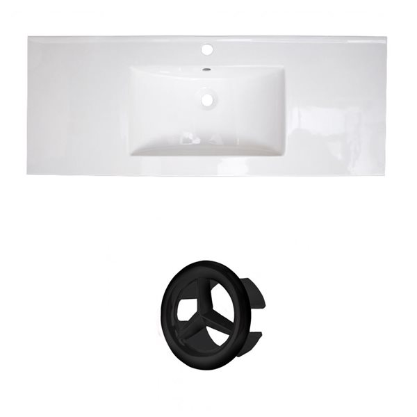 American Imaginations Roxy 48-in White Ceramic Single Hole Vanity Top Set Black Overflow Cap