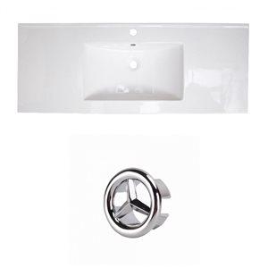 American Imaginations Roxy 48-in White Ceramic Single Hole Vanity Top Set Chrome Overflow Cap