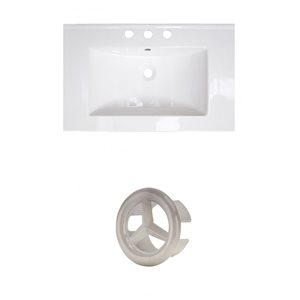 American Imaginations Roxy 24.25-in White Ceramic Vanity Top Set with Brushed Nickel Overflow Cap