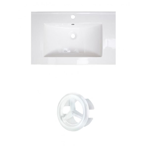 American Imaginations Roxy 24.25-in White Ceramic Vanity Top Set with White Overflow Cap Single Hole