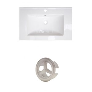American Imaginations Roxy 24.25-in White Ceramic Vanity Top Set with Brushed Nickel Overflow Cap Single Hole