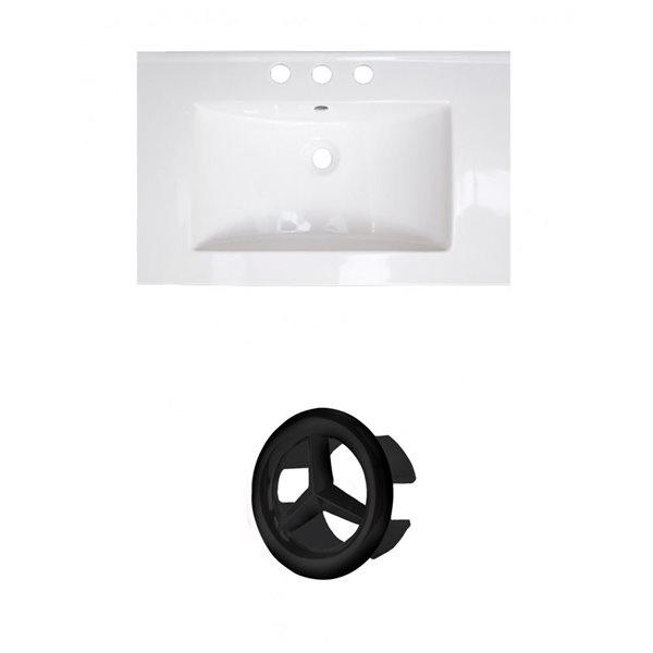 American Imaginations 23.75-in White Ceramic Centerset Vanity Top Set Black Overflow Cap
