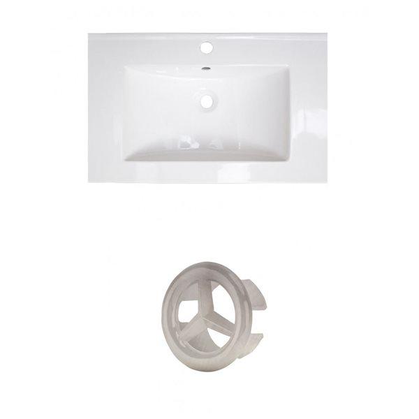 American Imaginations 23.75-in White Ceramic Single Hole Vanity Top Set Brushed Nickel Overflow Cap