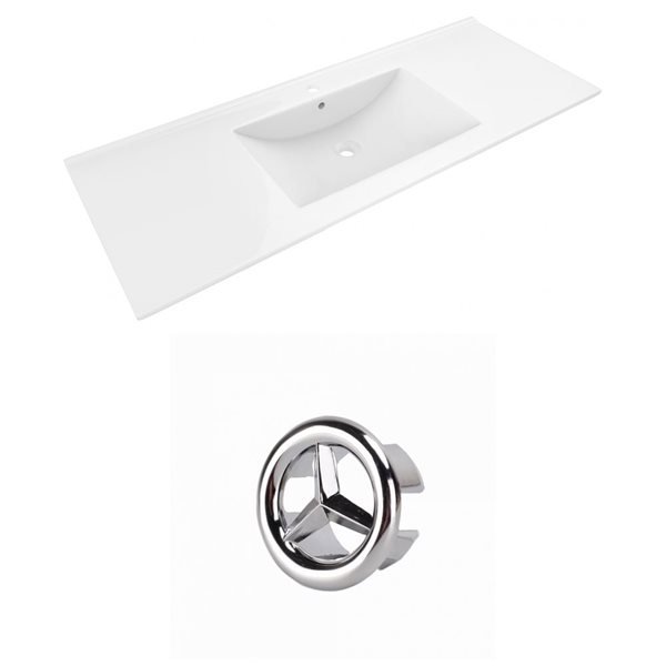 American Imaginations Alum 48-in White Ceramic Single Hole Vanity Top Set Chrome Overflow Cap
