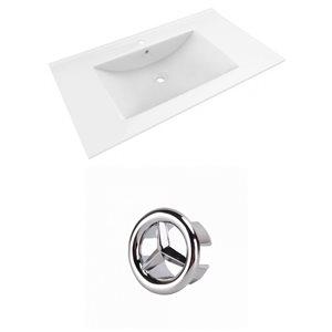 American Imaginations Drake 35.5-in White Ceramic Single Hole Vanity Top Set Chrome Overflow Cap