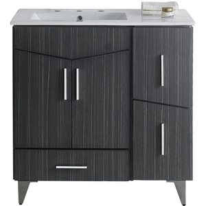 American Imaginations Xena Farmhouse 35.5-in Gray Bathroom Vanity with Ceramic Top