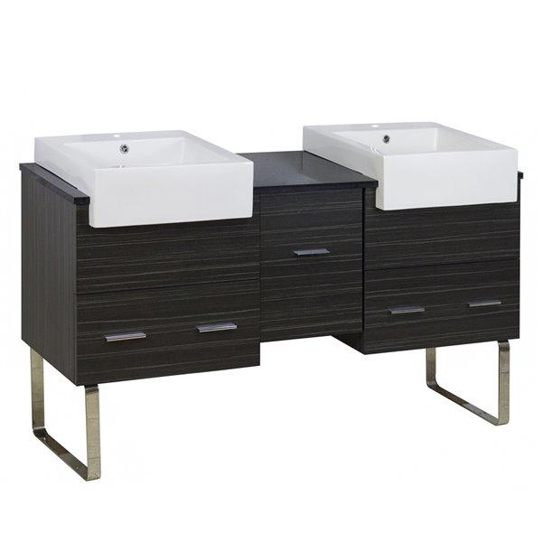 "Ensemble de meuble-lavabo, 59,5"", brun"