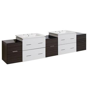 American Imaginations Xena 88.5-in White Ceramic Top with White Ceramic 8-in Three Hole Double Sink Wall Mount Vanity Set