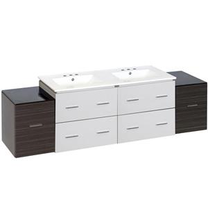 American Imaginations Xena 74.5-in White Ceramic Top with White Ceramic 4-in Three Hole Double Sink Wall Mount Vanity Set