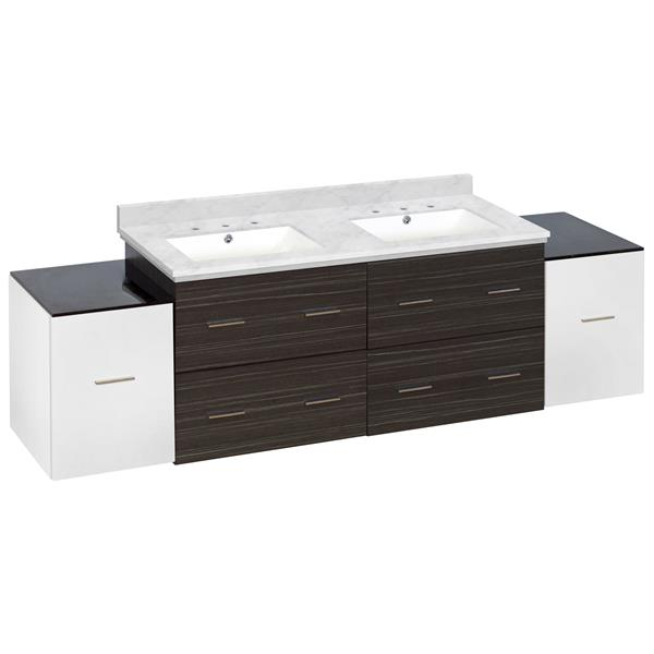 Xena Farmhouse 76-in Multiple Finishes Bathroom Vanity With Quartz Top