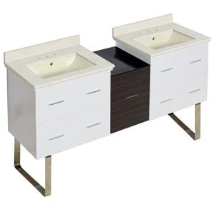 Xena Farmhouse 61.5-in Multiple Finishes Bathroom Vanity With Marble Top