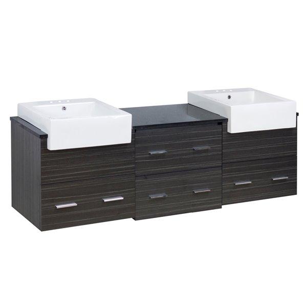 American Imaginations Xena Farmhouse 73.50-in Double Sink Grey Bathroom Vanity with Quartz Top