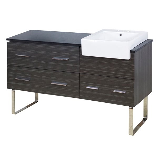 American Imaginations Xena Farmhouse 60.75-in Grey Bathroom Vanity with Quartz Top