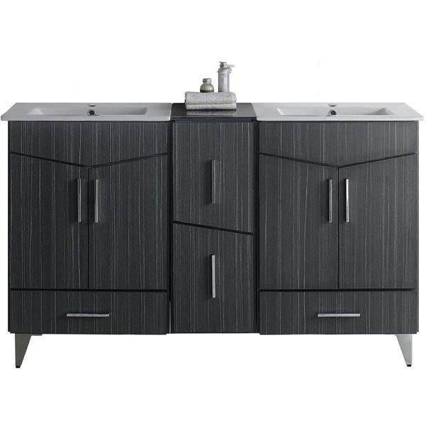 """Ensemble de meuble-lavabo, 61,5"""", gris"""