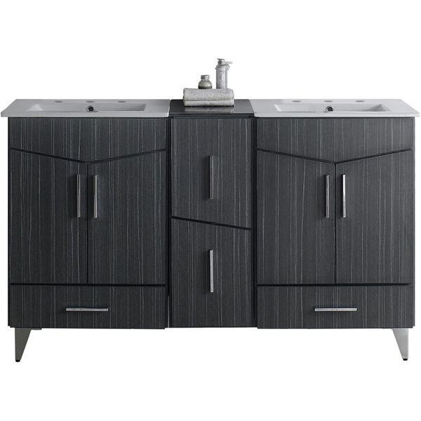 "Ensemble de meuble-lavabo, 61,5"", gris"