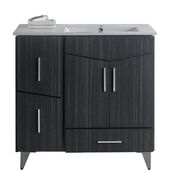 """Ensemble de meuble-lavabo, 35,5"""", gris"""