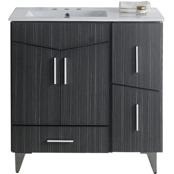 "Ensemble de meuble-lavabo, 35,5"", gris"