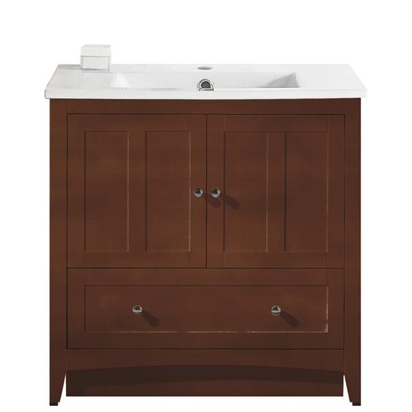 "Ensemble de meuble-lavabo, 35,5"", brun"
