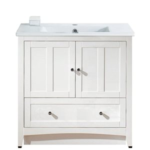 Xena Farmhouse 35.5-in White Bathroom Vanity with Ceramic Top