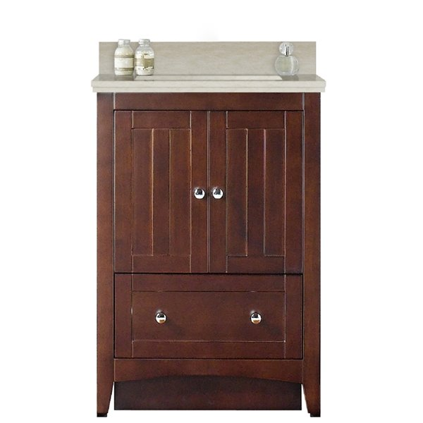 American Imaginations Xena Farmhouse 23.75 in Brown Bathroom Vanity with Ceramic Top