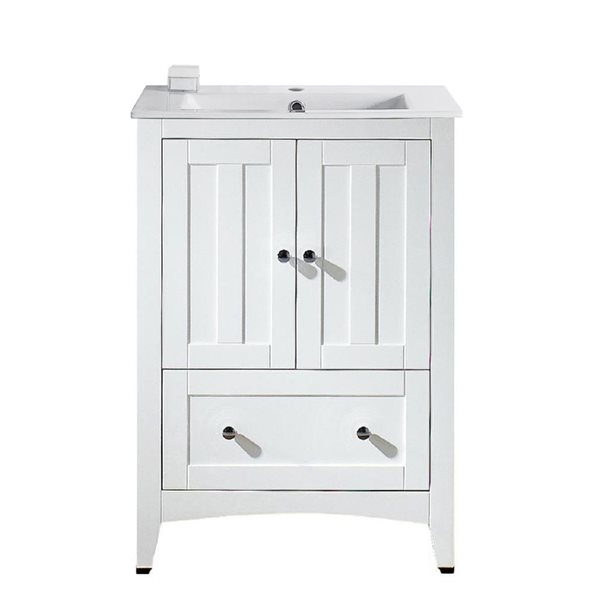 "Ensemble de meuble-lavabo, 23,75"", blanc"