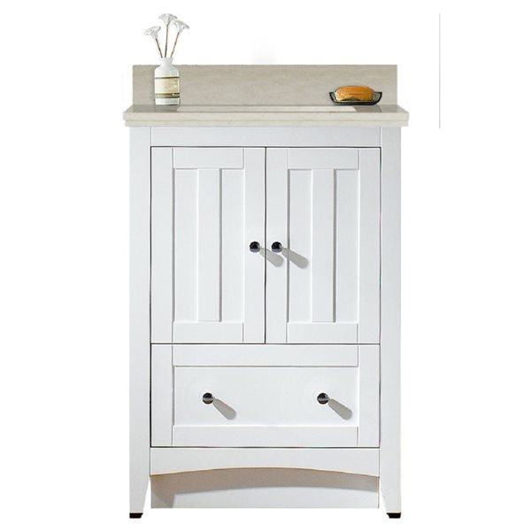 "Ensemble de meuble-lavabo, 23,75"", blanc"