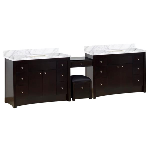 American Imaginations Xena Farmhouse 116.45-in Double Sink Brown Bathroom Vanity with Marble Top