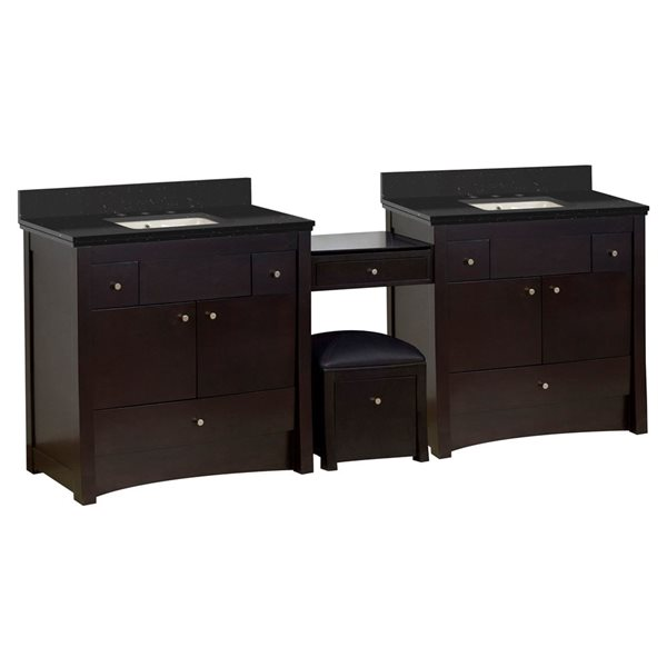 American Imaginations Xena Farmhouse 93.25-in Double Sink Brown Bathroom Vanity with Quartz Top