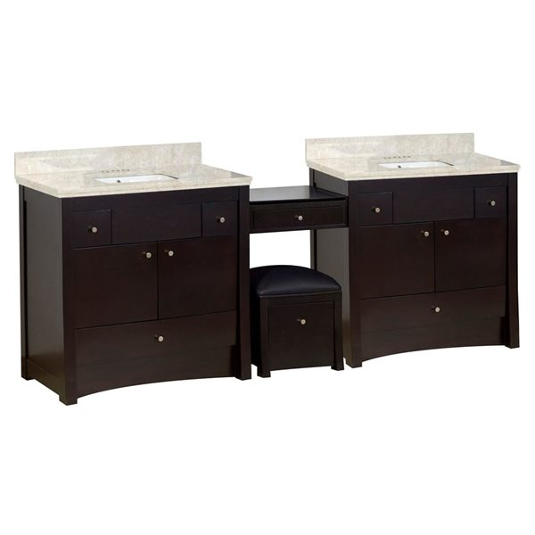 American Imaginations Xena Farmhouse 93.25-in Double Sink Brown Bathroom Vanity with Marble Top