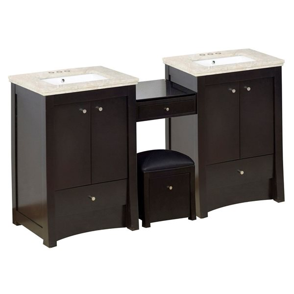 "Ensemble de meuble-lavabo, 84,75"", brun"