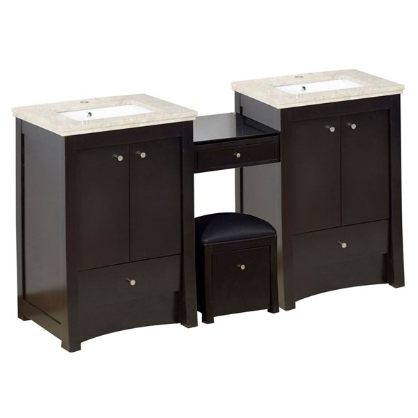"Ensemble de meuble-lavabo, 84,75"", brun"
