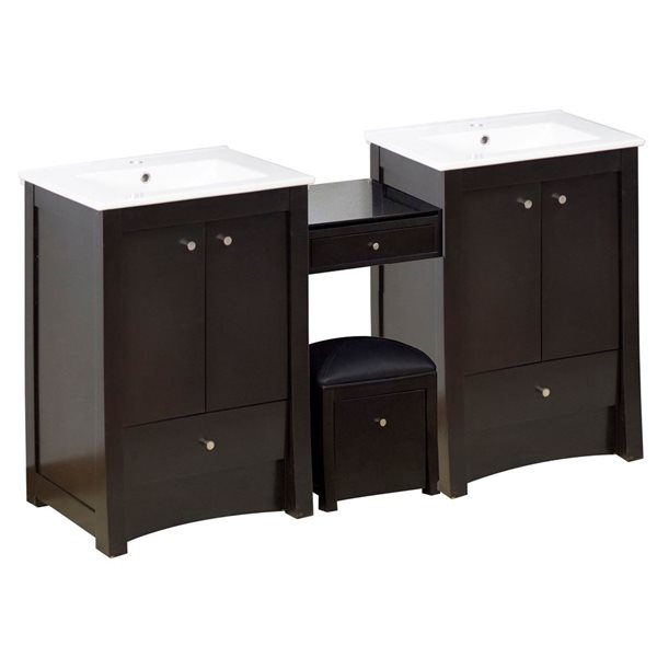 "Ensemble de meuble-lavabo, 85,25"", brun"