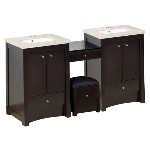 "Ensemble de meuble-lavabo, 68,75"", brun"