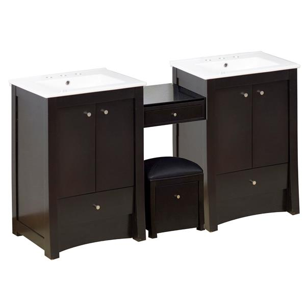 "Ensemble de meuble-lavabo, 68,75"", brun"