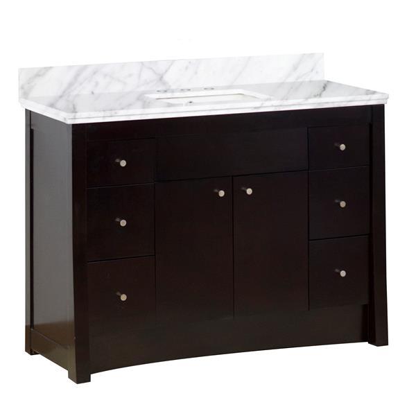 American Imaginations Elite Design 47.60-in Brown Bathroom Vanity with Marble Top